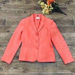 ✨Talbots Orange Irish Linen 3 Button Blazer ✨